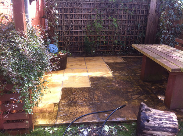 Paving slabs, before and after pressure washing